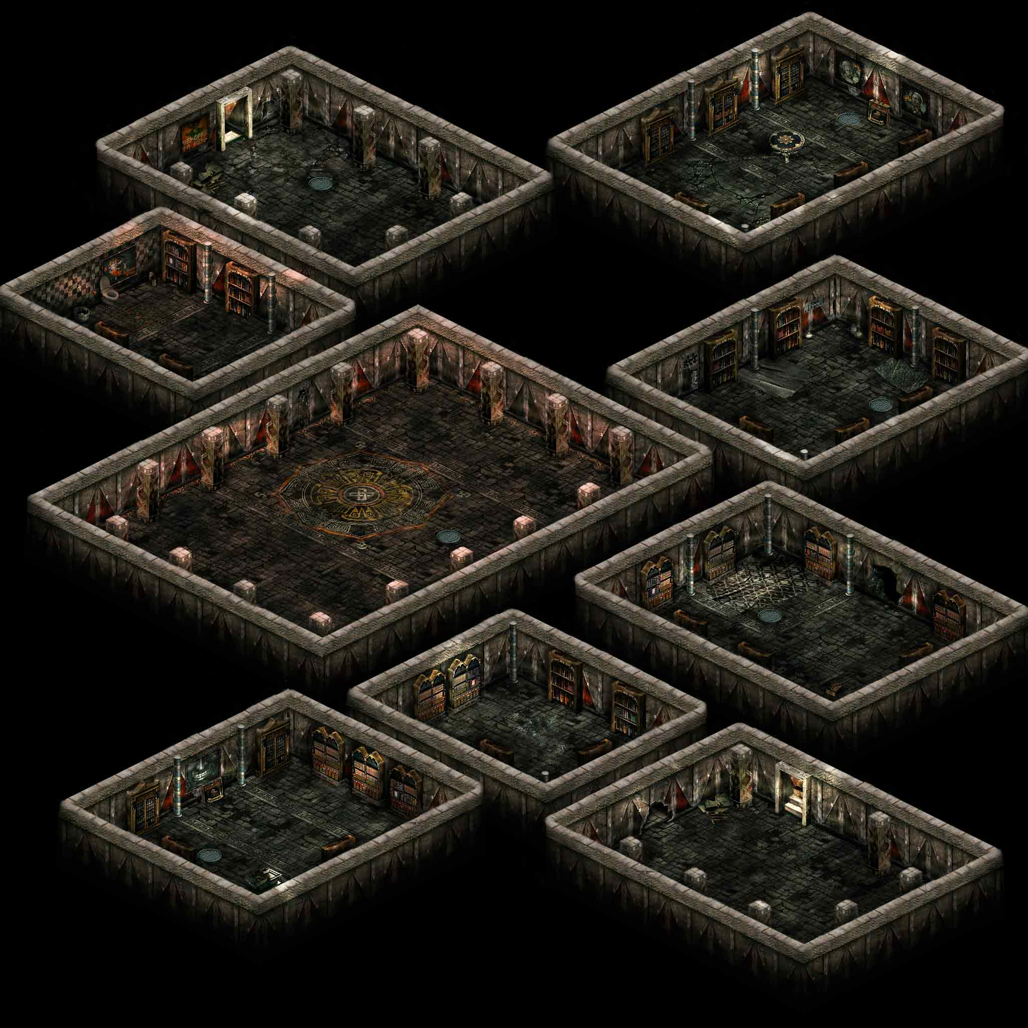 Advancement: Using The Teleport Pads, Navigate To The Boss Room. Kill The  Boss For The Key. Secret Room: One Of The Bookshelves Can Be  Attacked/destroyed To ...
